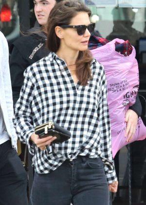 Katie Holmes in Black Jeans Shopping in LA
