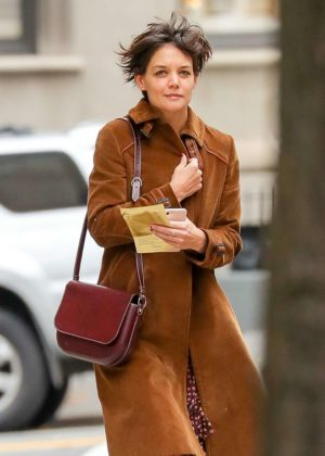 Katie Holmes in Brown Coat out in New York City