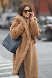 Katie Holmes in Brown Coat - Out in New York