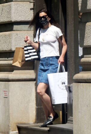 Katie Holmes - In denim mini skirt out in New York
