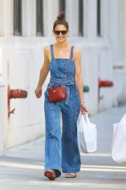 Katie Holmes in Denim Overall - Shopping in New York City