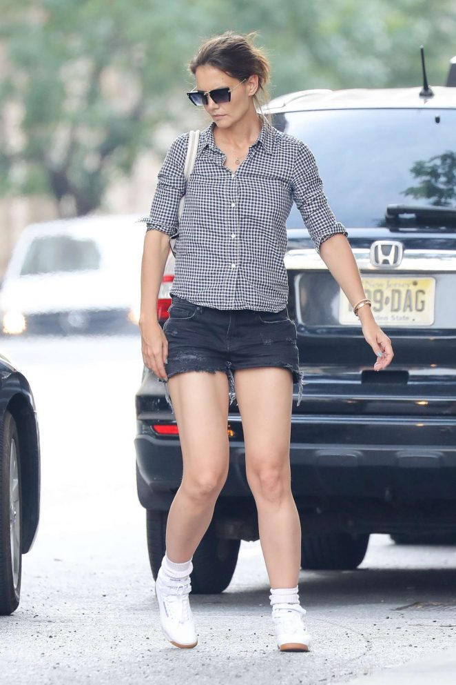 Katie Holmes in Denim Shorts Shopping in NY