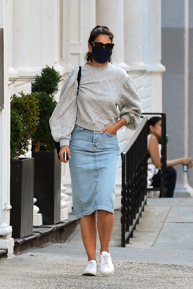 Katie Holmes - In denim skirt out in NYC