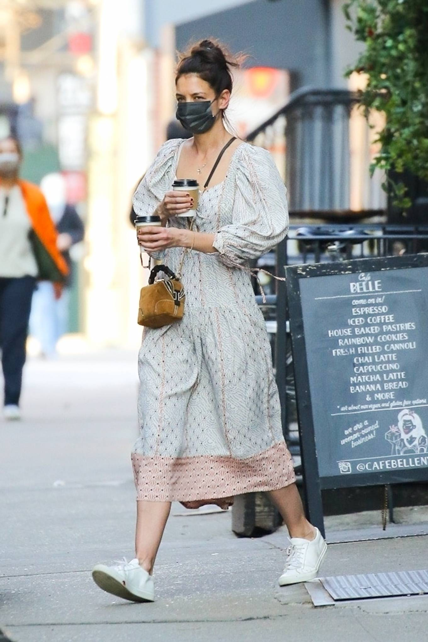 Katie Holmes 2021 : Katie Holmes – In dress out for a coffee-01