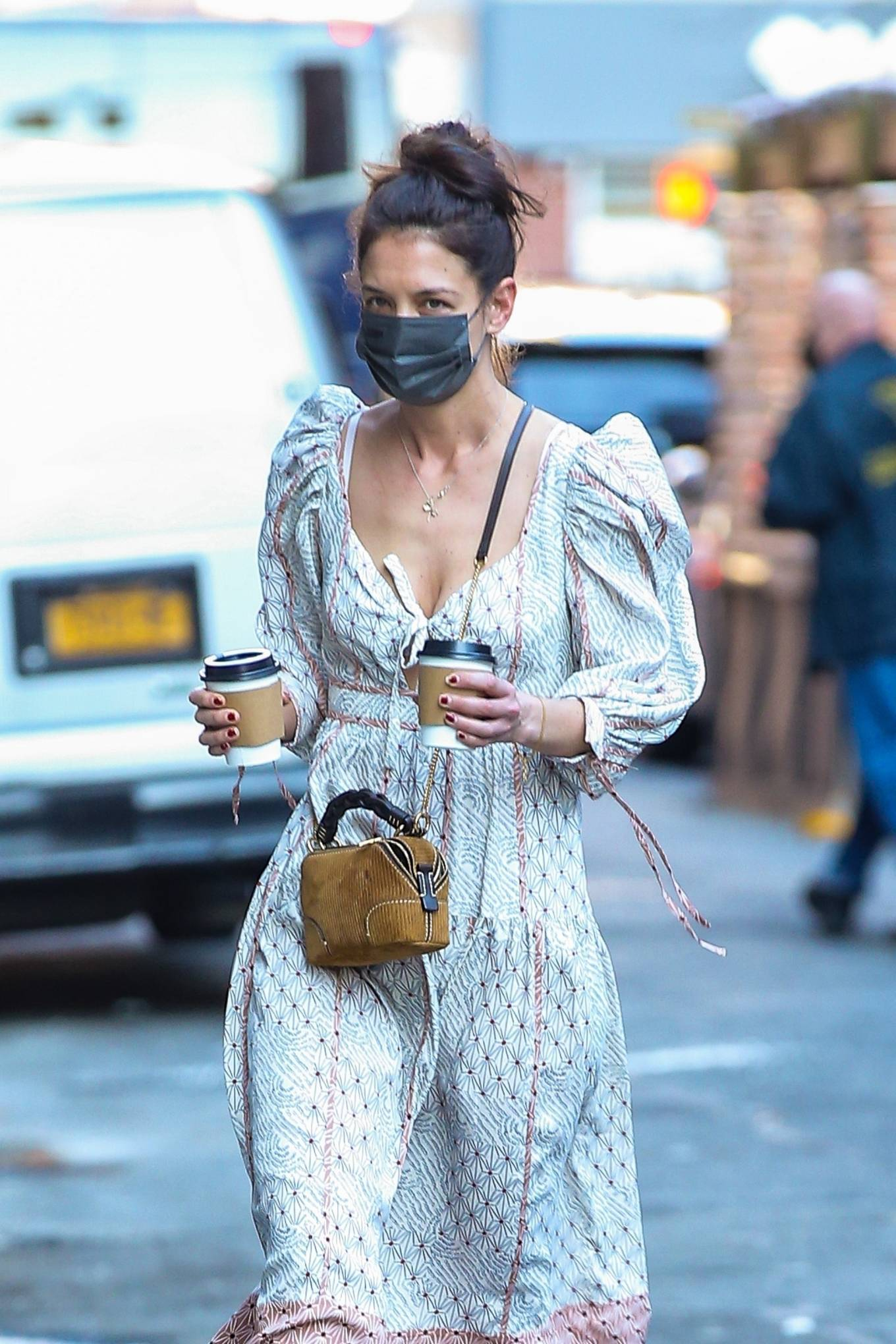 Katie Holmes 2021 : Katie Holmes – In dress out for a coffee-04