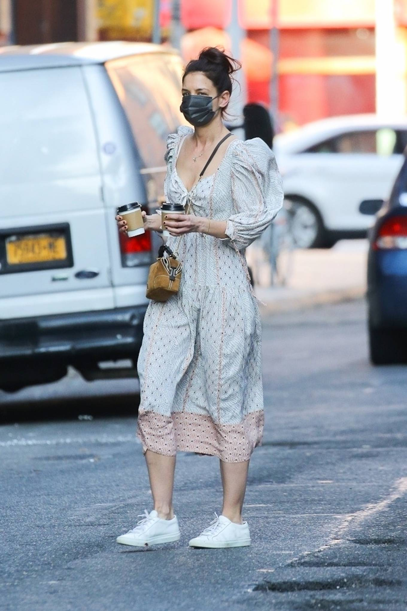 Katie Holmes 2021 : Katie Holmes – In dress out for a coffee-05