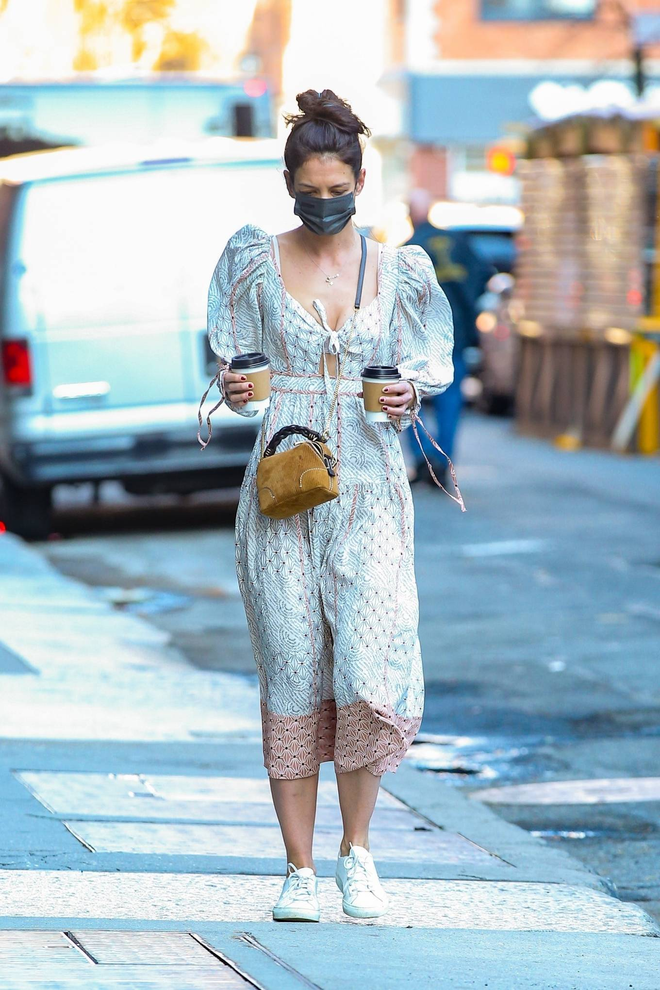Katie Holmes 2021 : Katie Holmes – In dress out for a coffee-08