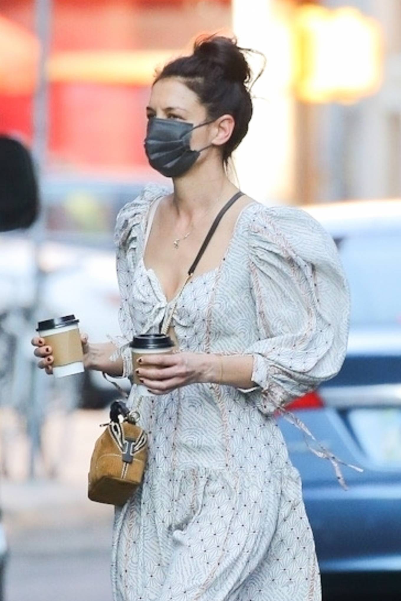 Katie Holmes 2021 : Katie Holmes – In dress out for a coffee-09