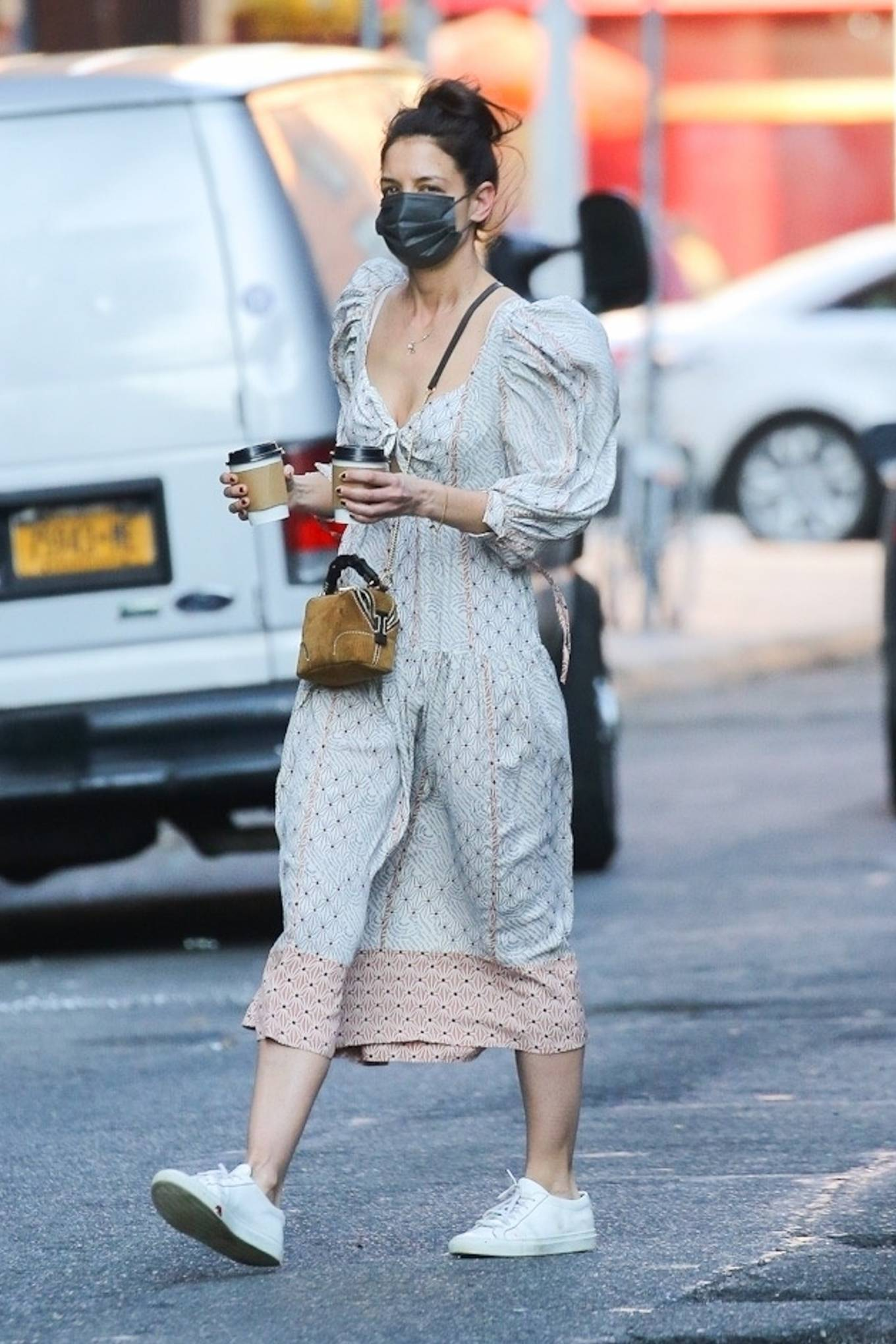 Katie Holmes 2021 : Katie Holmes – In dress out for a coffee-10
