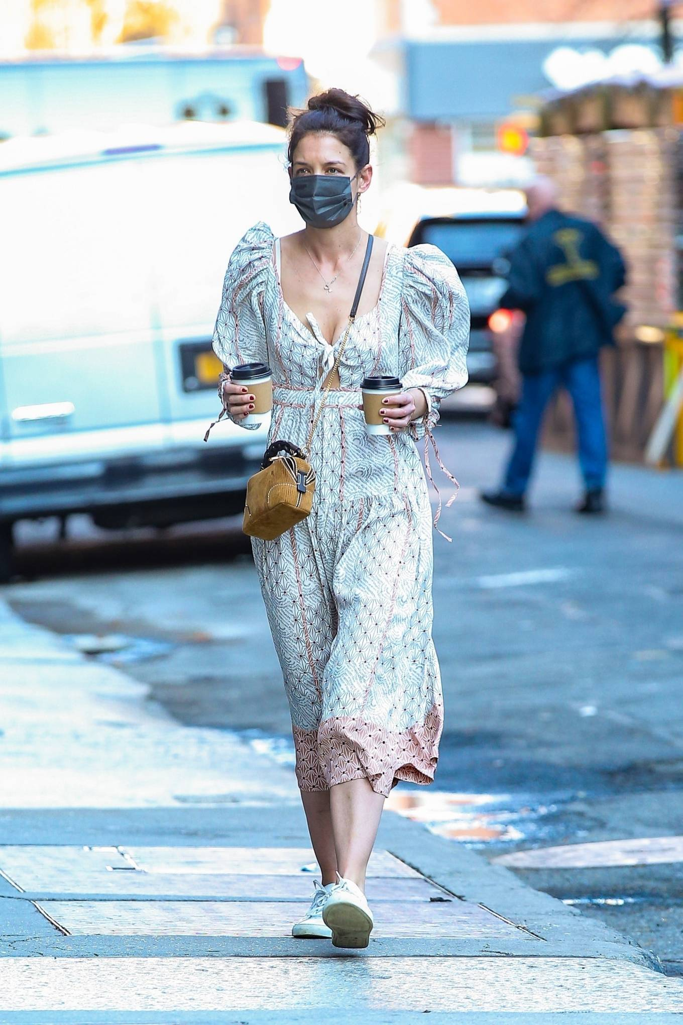 Katie Holmes 2021 : Katie Holmes – In dress out for a coffee-12