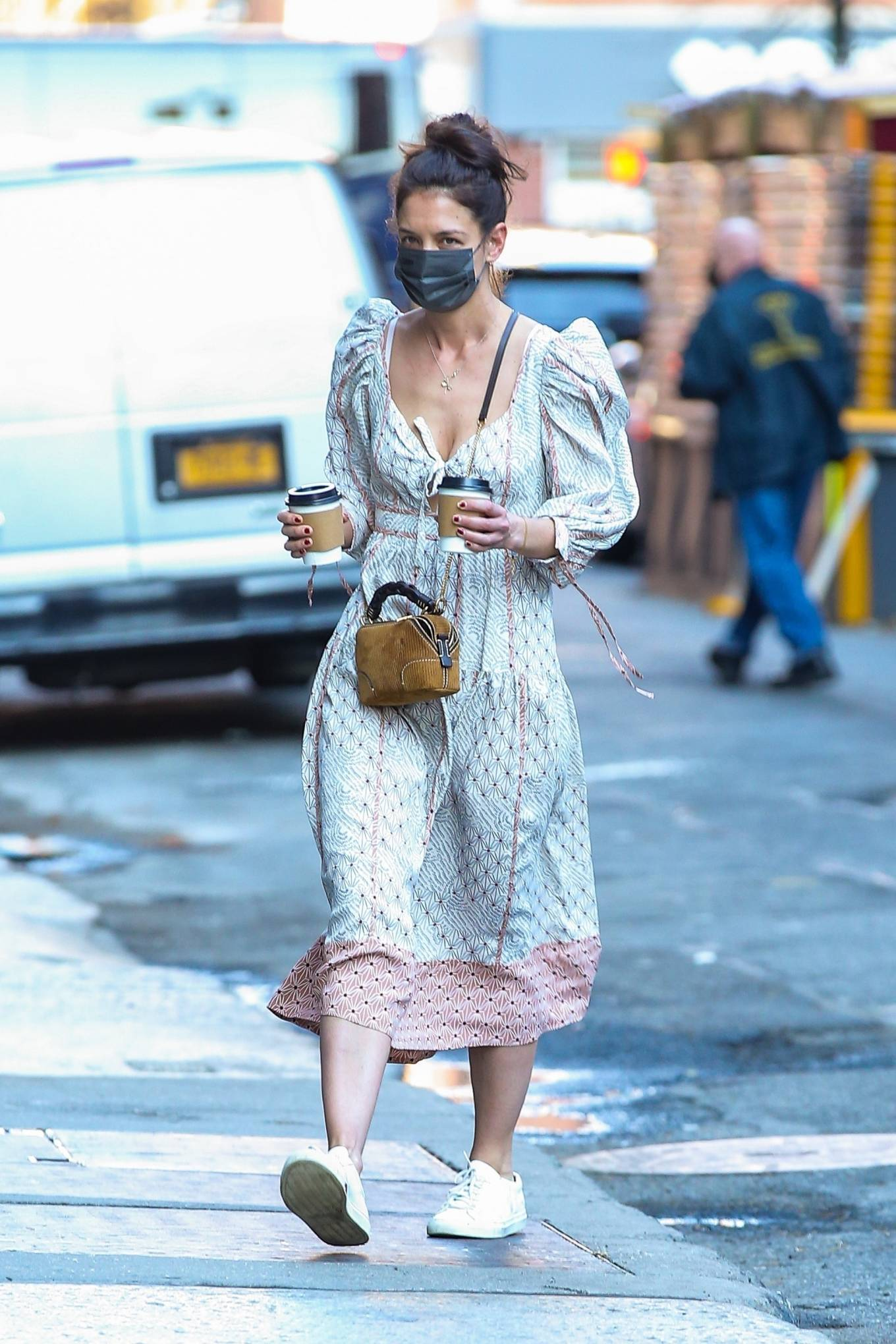 Katie Holmes 2021 : Katie Holmes – In dress out for a coffee-13