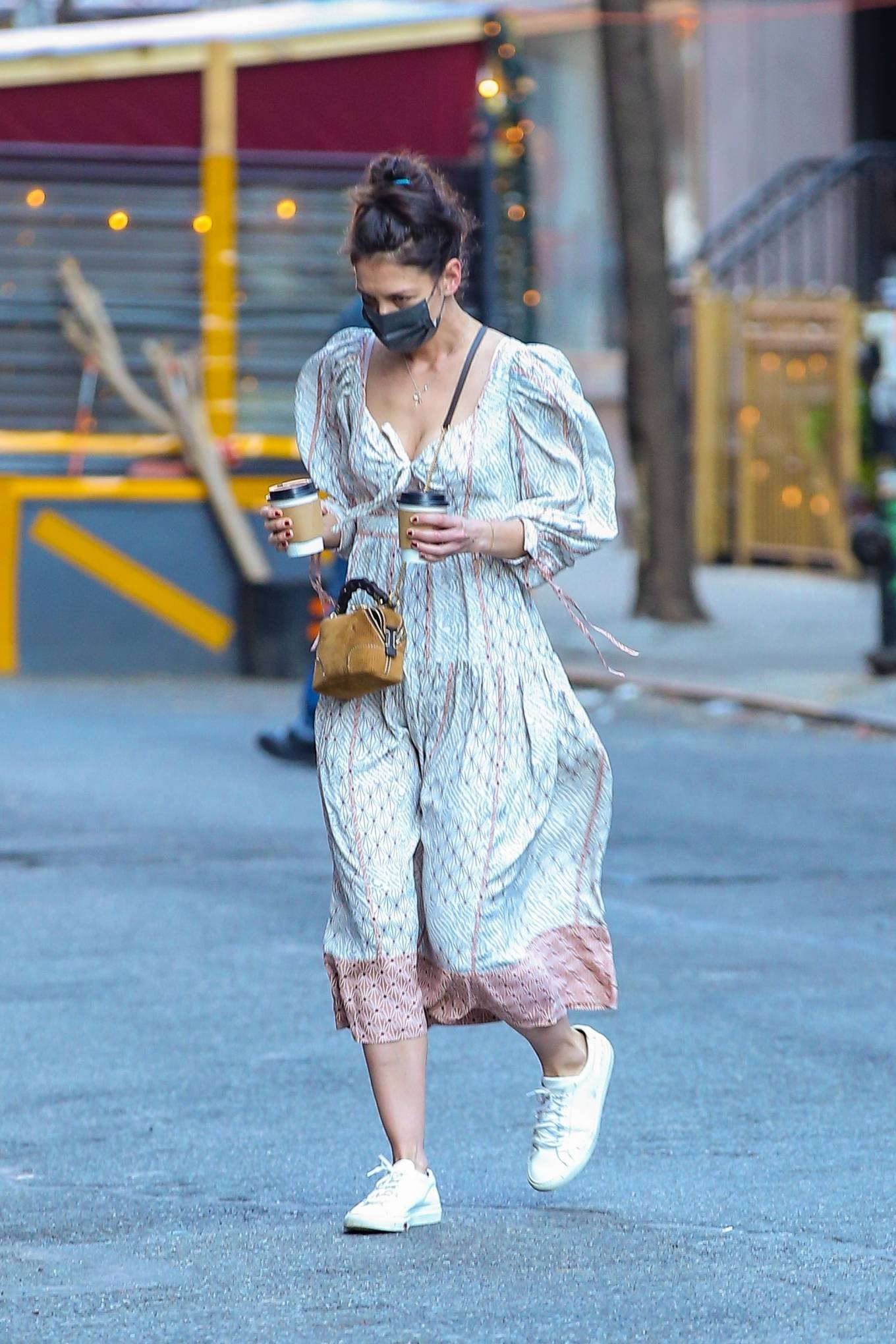 Katie Holmes 2021 : Katie Holmes – In dress out for a coffee-15