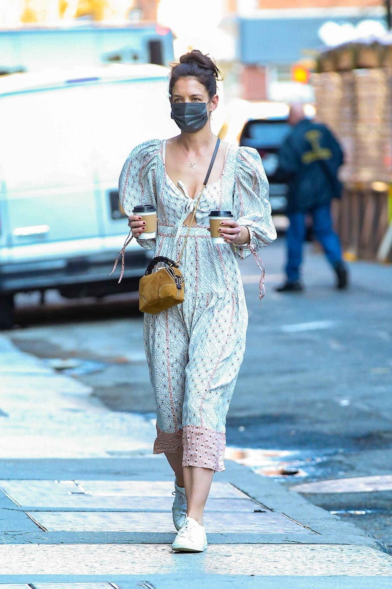 Katie Holmes 2021 : Katie Holmes – In dress out for a coffee-16
