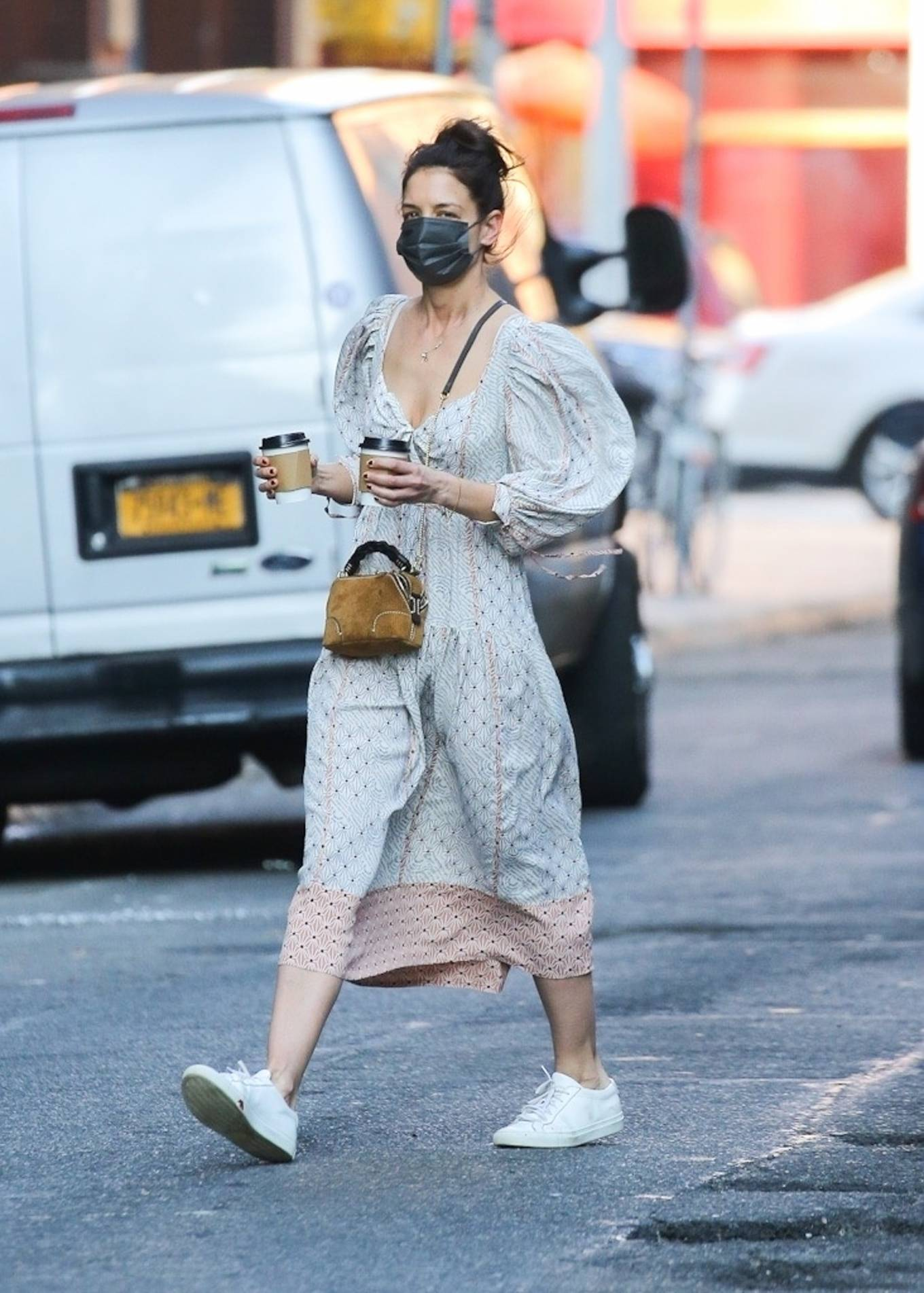 Katie Holmes 2021 : Katie Holmes – In dress out for a coffee-17
