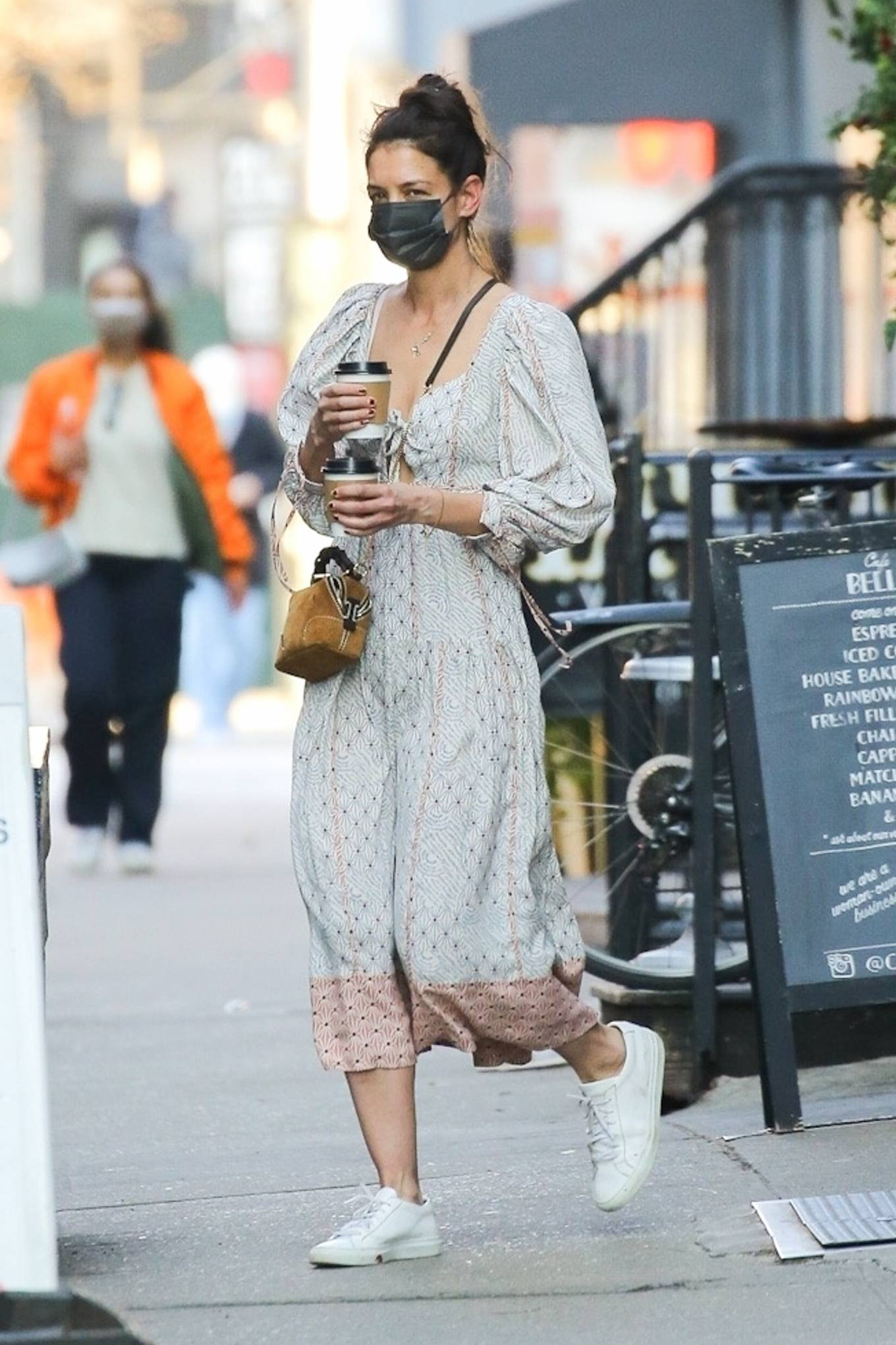 Katie Holmes 2021 : Katie Holmes – In dress out for a coffee-18