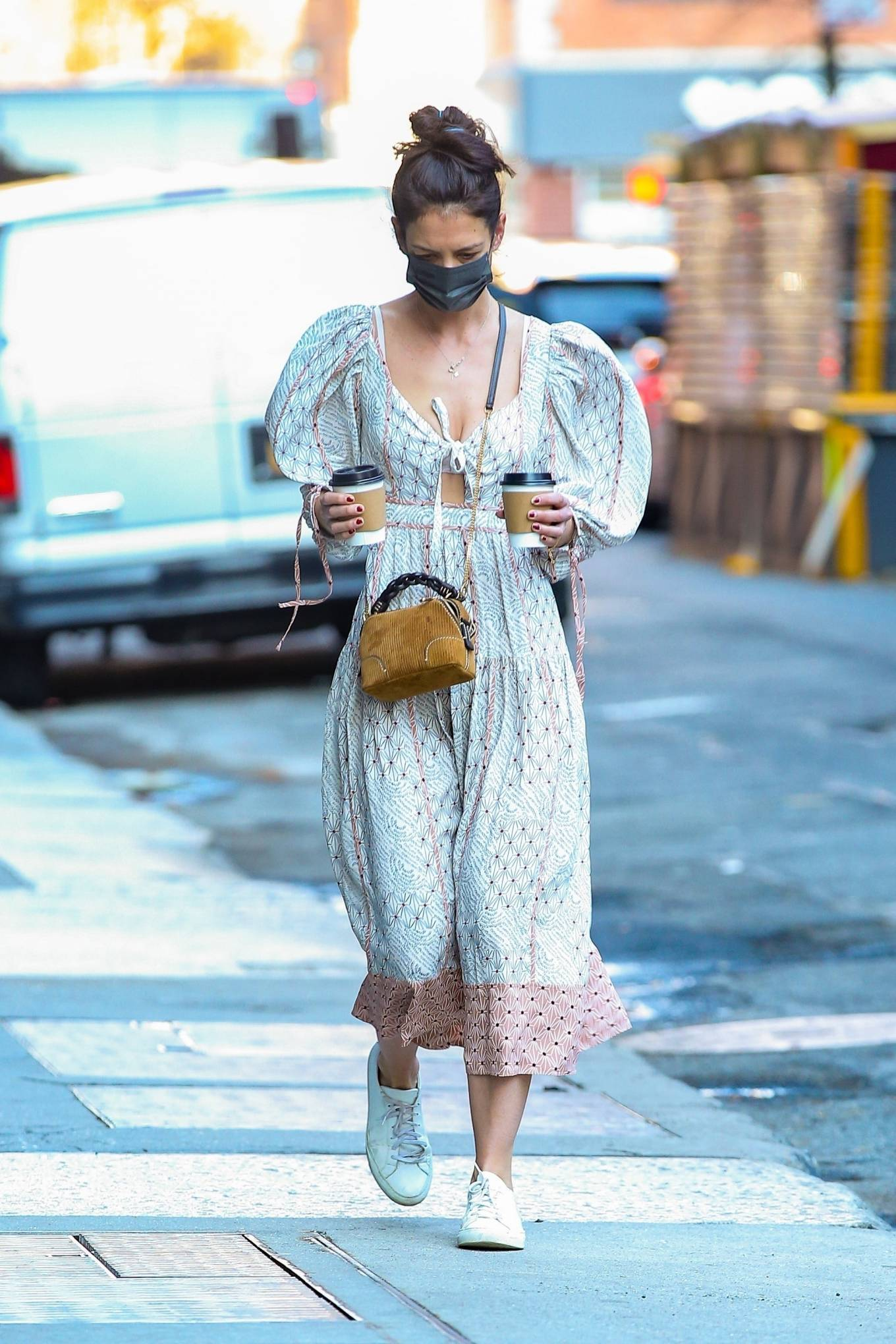 Katie Holmes 2021 : Katie Holmes – In dress out for a coffee-19