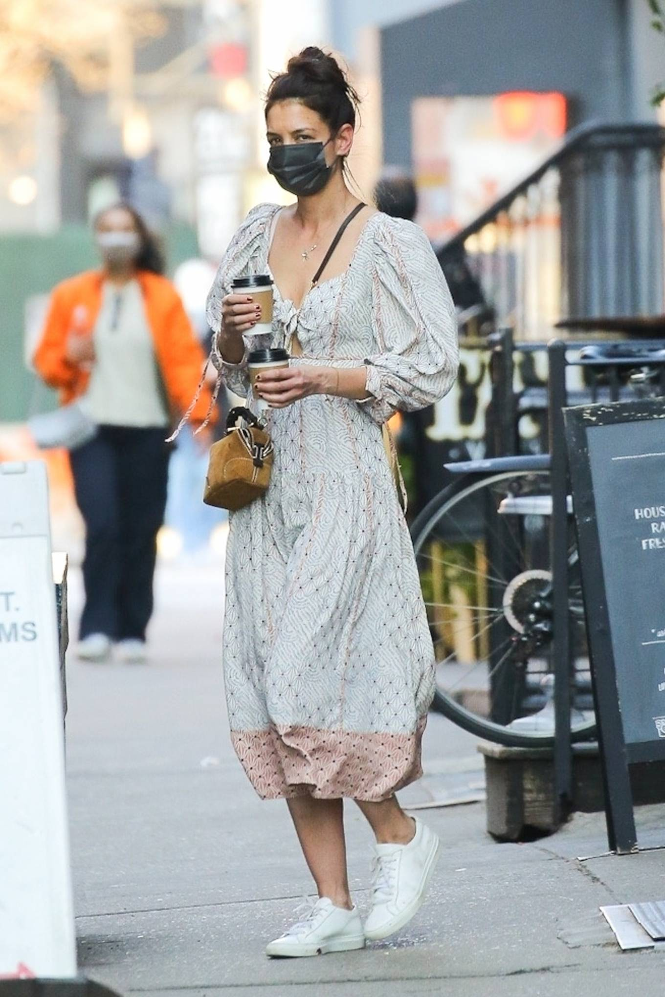 Katie Holmes 2021 : Katie Holmes – In dress out for a coffee-21