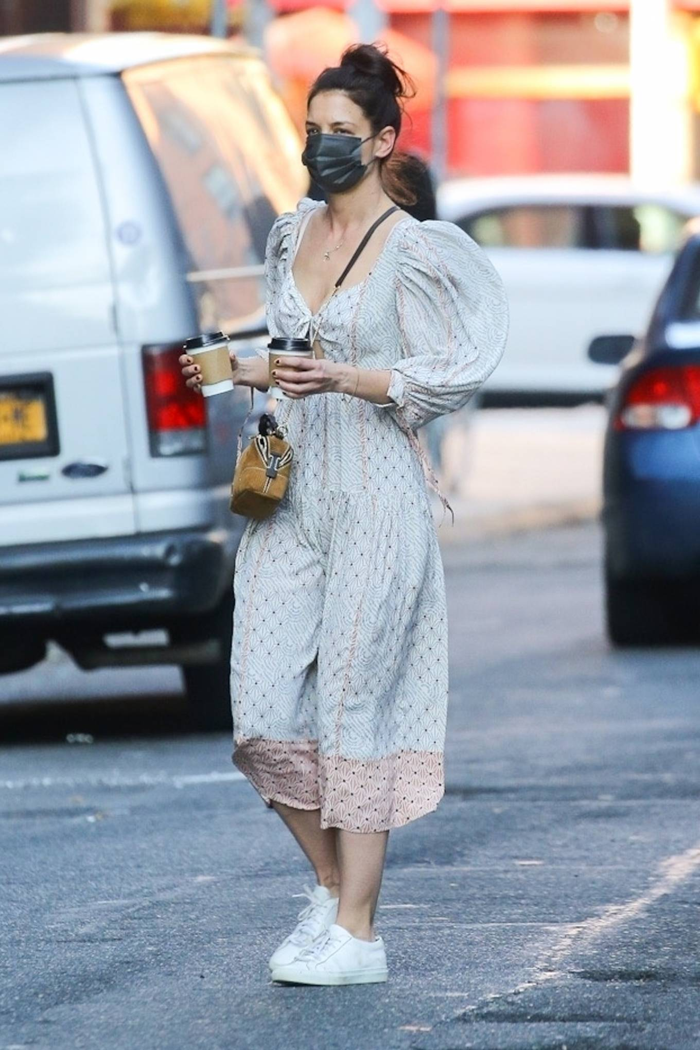 Katie Holmes 2021 : Katie Holmes – In dress out for a coffee-22