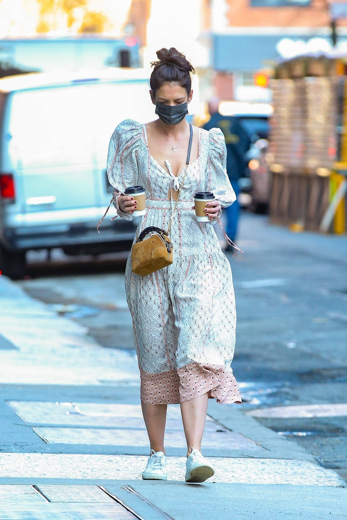 Katie Holmes 2021 : Katie Holmes – In dress out for a coffee-23