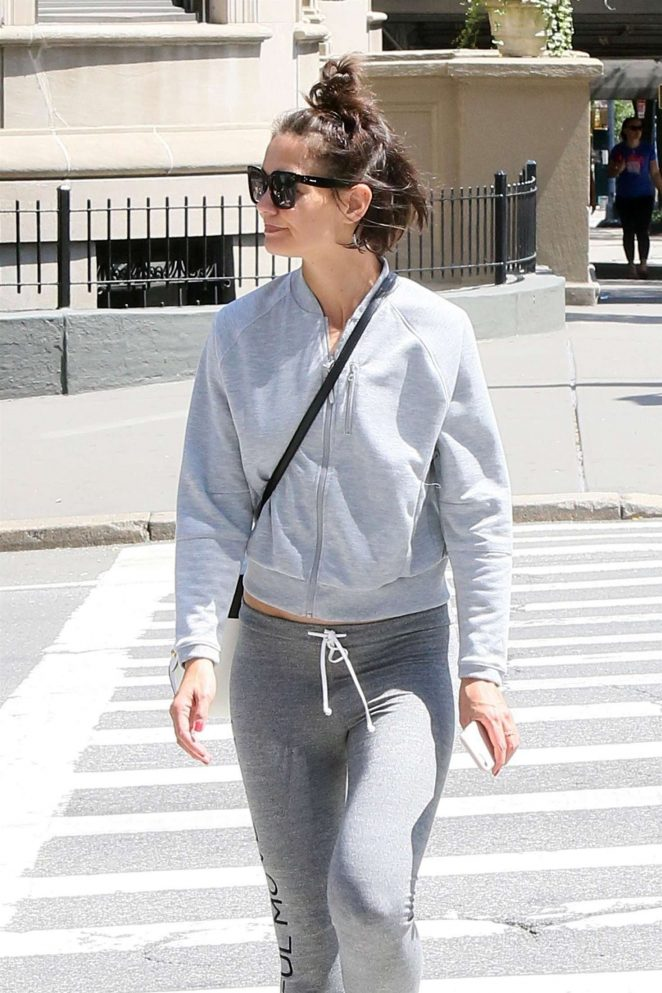 Katie Holmes in Grey Tights out in New York