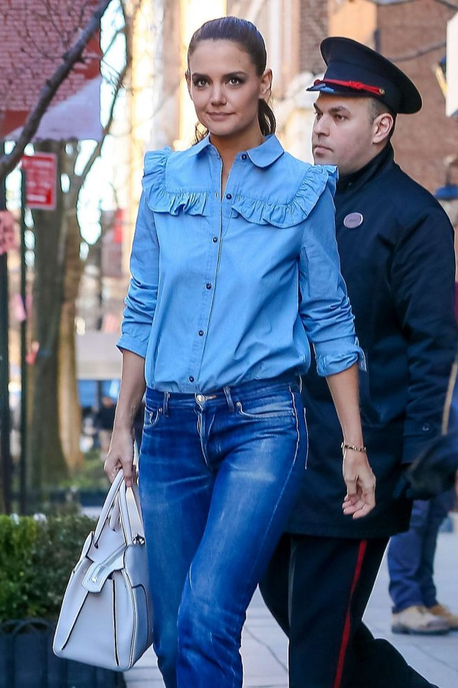 Katie Holmes in jeans out in New York City
