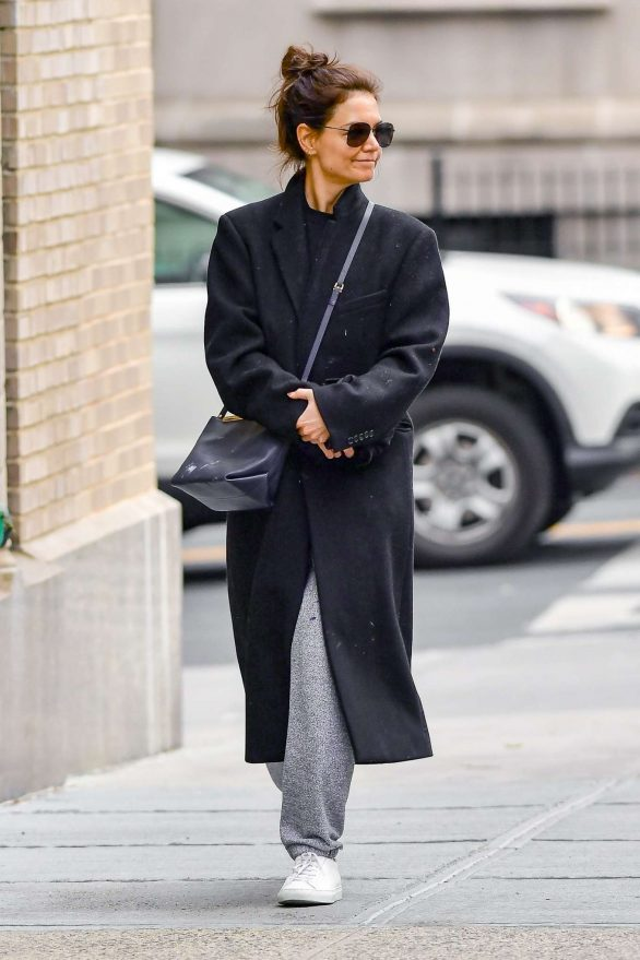 Katie Holmes in Long Coat - Out in New York