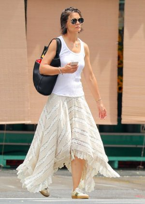 Katie Holmes in Long Skirt - Out in New York City