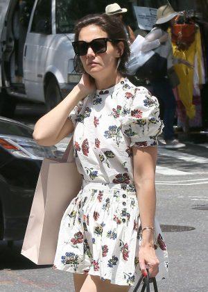 Katie Holmes in Mini Dress - Shopping in Manhattan