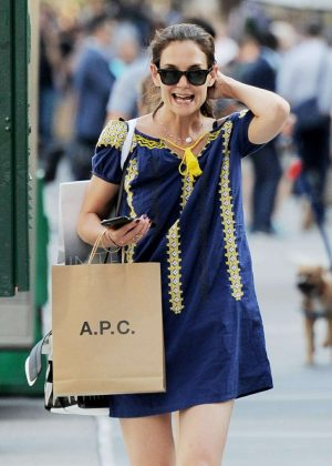 Katie Holmes in Mini Dress Shopping in NY