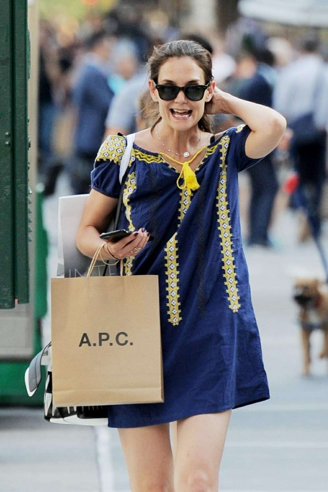 Katie Holmes in Mini Dress Shopping in NY