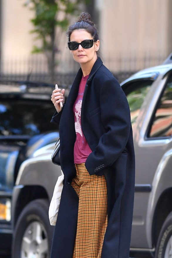 Katie Holmes in Mustard Colored Plaid Pants in New York City