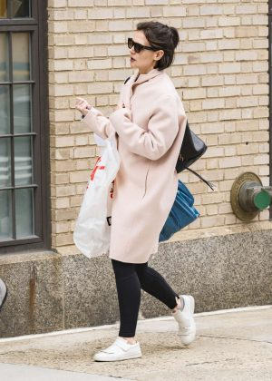 Katie Holmes in Pink Coat out in New York City