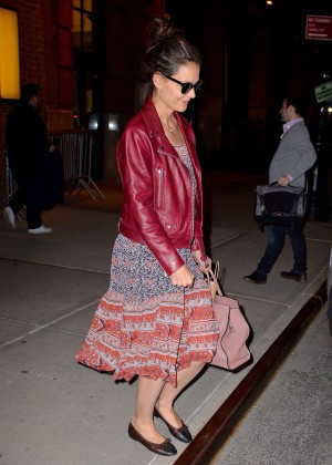 Katie Holmes in Red Leather Jacket out in New York