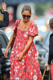 Katie Holmes in Red Print Dress - Out in New York