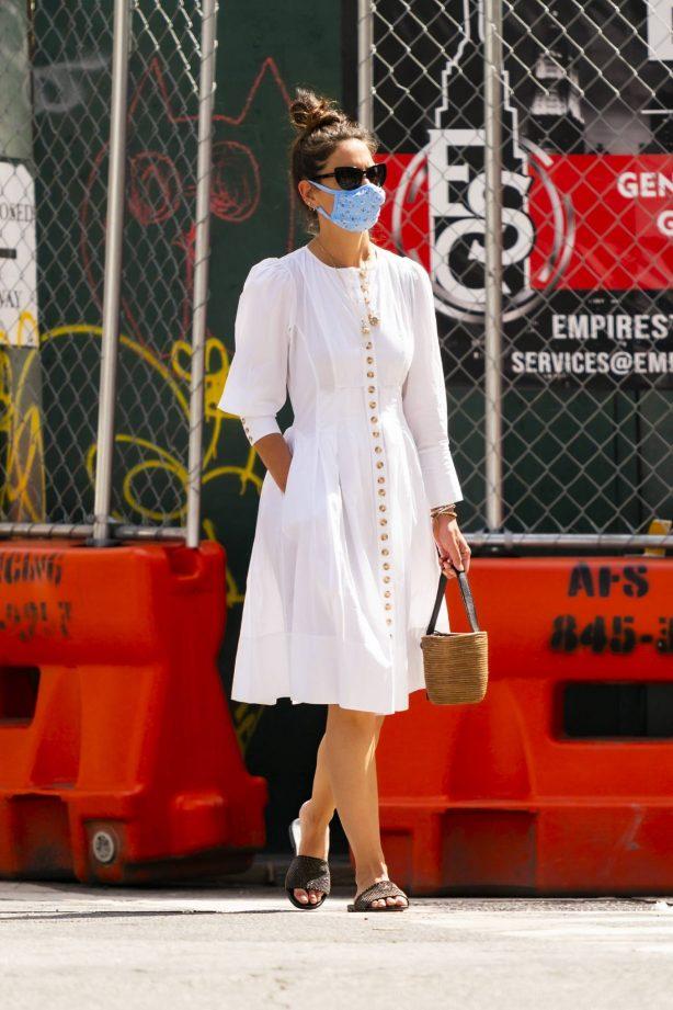 Katie Holmes in White Dress in New York
