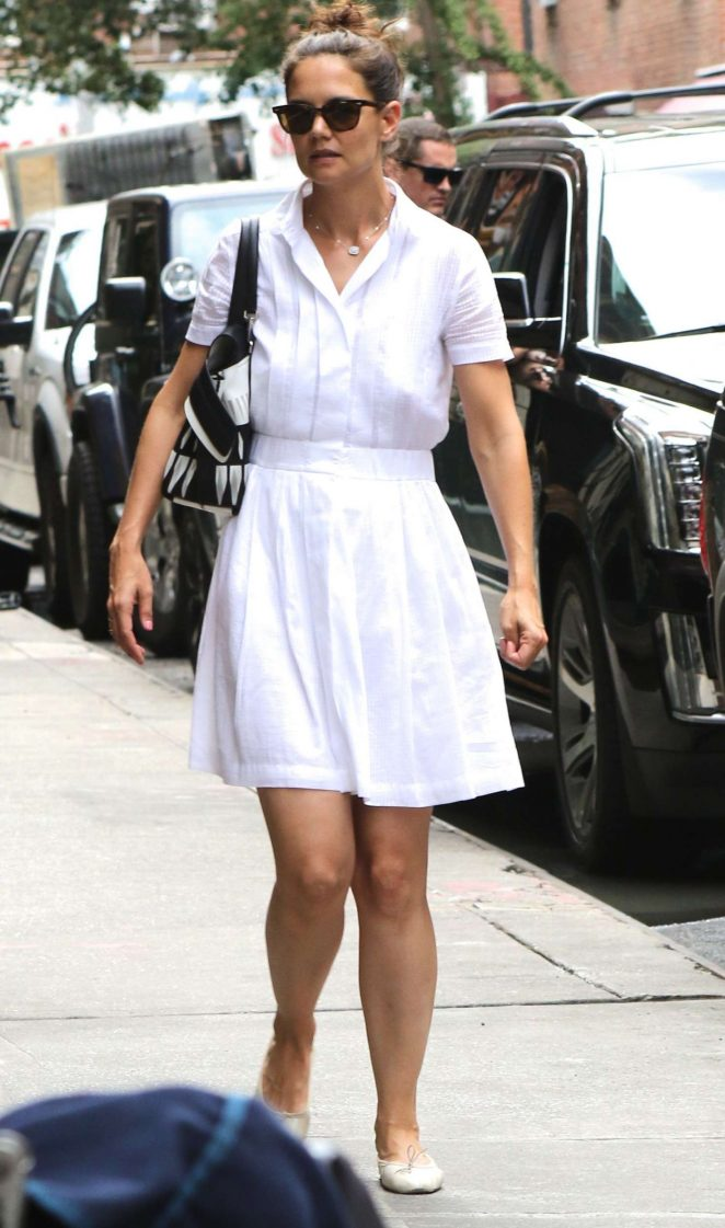 Katie Holmes in White Dress out in New York City
