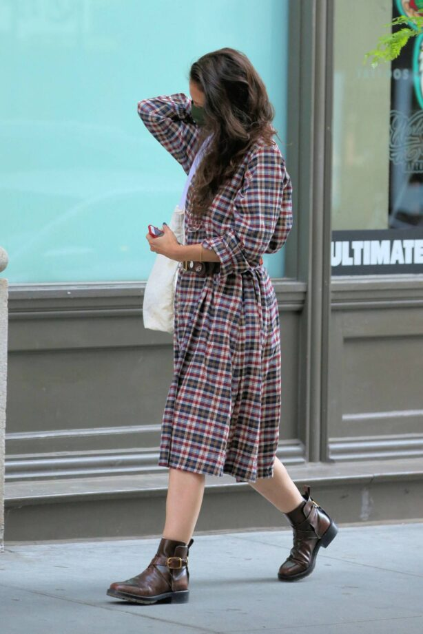Katie Holmes - Is seen in a plaid dress and boots in New York