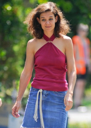Katie Holmes in Mini Skirt On the Set of 'All we had' in NY