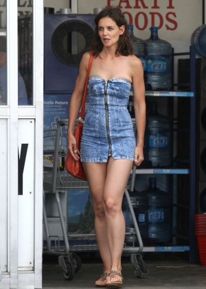 Katie Holmes in Short Jeans Dress -01