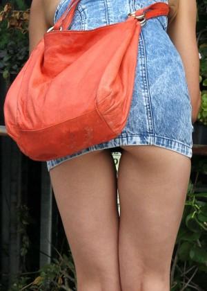 Katie Holmes in Short Jeans Dress -02