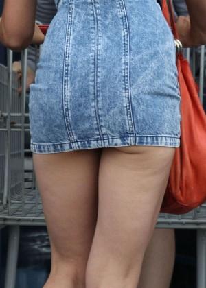 Katie Holmes in Short Jeans Dress -04