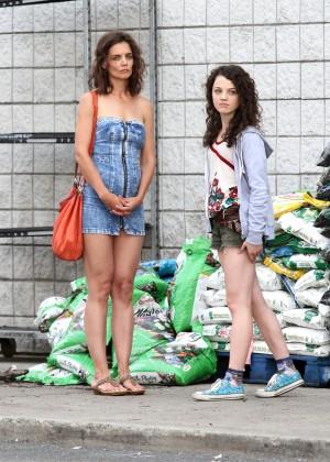 Katie Holmes in Short Jeans Dress -05