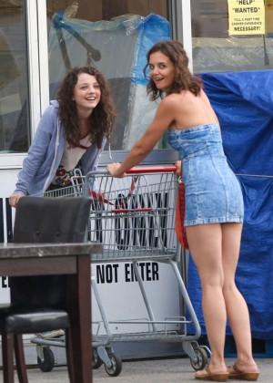 Katie Holmes in Short Jeans Dress -06