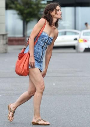 Katie Holmes in Short Jeans Dress -09