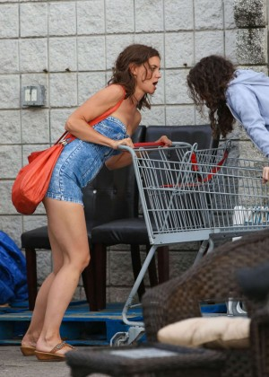 Katie Holmes in Short Jeans Dress -12