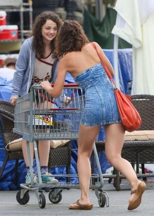 Katie Holmes in Short Jeans Dress -13