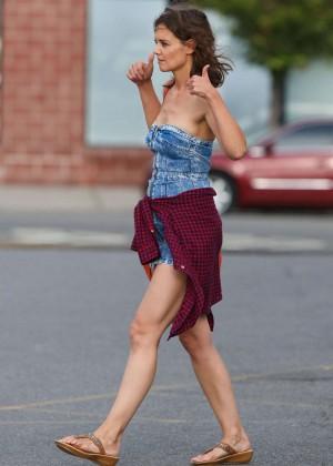 Katie Holmes in Short Jeans Dress -17