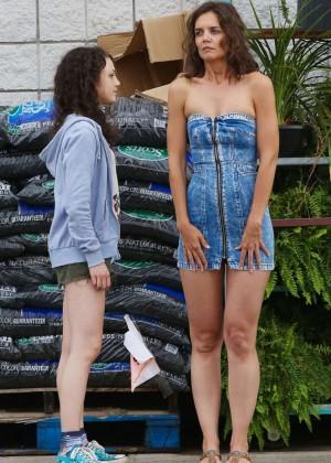 Katie Holmes in Short Jeans Dress -23