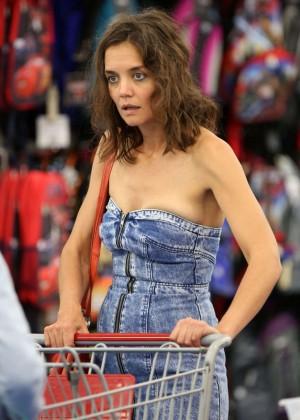 Katie Holmes in Short Jeans Dress -24