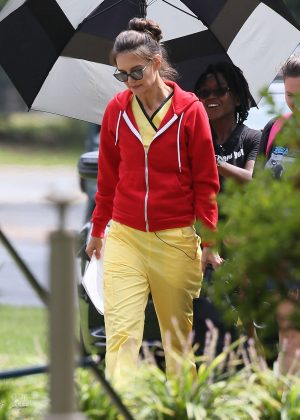 Katie Holmes on the set of 'Coup D'etat' in Georgia